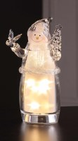 "9"" Clear LED Revolving Star Snowman Figurine"