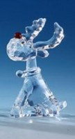 "3"" Clear Sitting Red Nose Reindeer"