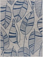 5.3' x 7.3' Navy and Gray Leaves Rug