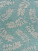 5.3' x 7.3' Teal and Cream Fronds Rug