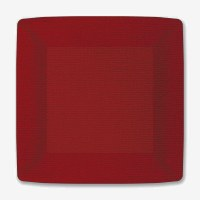 """Pack of 8 7"""" Square Red Canvas Embossed Paper Plates"""