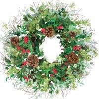 """5"""" Square Yuletide Wreath Beverage Napkins"""