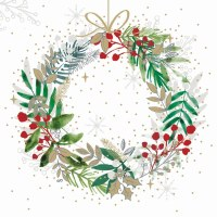 "5"" Square Festive Wreath Beverage Napkins"
