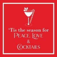 "5"" Square Red Peace, Love & Cocktails Beverage Napkins"