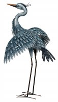 """41"""" Metallic Blue Heron With Wings Out Statue"""