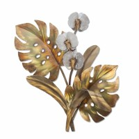 """20"""" White Orchids With Gold Monstera Foliage Metal Wall Plaque"""