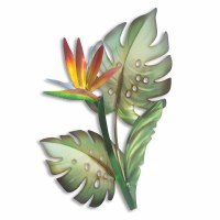 """20"""" Bird of Paradise With Green Monstera Foliage Metal Wall Plaque"""