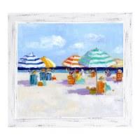 "22"" x 26"" Multicolor Striped Beach Umbrellas II Gel Print With Thin White Frame"