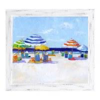 "22"" x 26"" Multicolor Striped Beach Umbrellas I Gel Print With Thin White Frame"