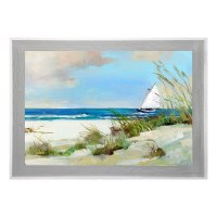 """37"""" x 47"""" Sailboat and Sea Oats Gel Print With Graywashed Frame"""