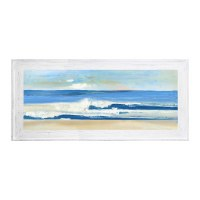"""24"""" x 63"""" Wide Wave Beach Gel Print With Whitewashed Frame"""