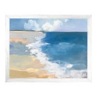 """40"""" x 52: Blue Water Lonely Beach Gel Print With White Frame"""
