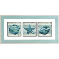 """24"""" x 50"""" Triple Green and Blue Shells With White and Green Frame"""