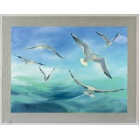 """30"""" x 42"""" Seagulls Flying Over Water Gel Print With Graywashed Frame"""