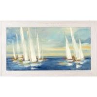 "30"" x 54"" White Sailboats on Dark Blue Sea Gel Print With Whitewashed Frame"