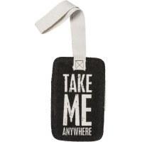 "5"" Black and White Canvas Take Me Luggage Tag"