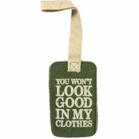 """5"""" Green and Tan Canvas Good In My Clothes Luggage Tag"""