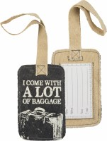 """5"""" Black and Tan Canvas Lot of Baggage Luggage Tag"""