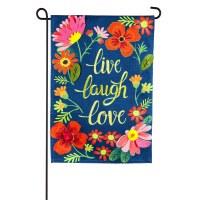 """18"""" x 13"""" Mini Live Laugh Love Floral Garden Flag"""