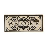 """10"""" x 22"""" Burlap Scroll Welcome Sassafras Doormat"""