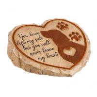 """11"""" Heart Shaped Polyresin Dog Memorial Garden Stone"""