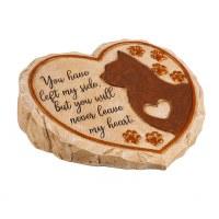 "11"" Heart Shaped Polyresin Cat Memorial Garden Stone"