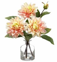 """14"""" Faux Pink and Green Dahlia in a Glass Vase"""