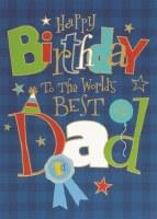Blue Plaid Happy Birthday Dad Greeting Card