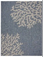 1.10' x 3' Navy and Gray Coral Rug
