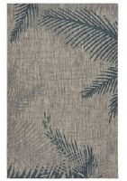 1.10' x 3' Gray and Blue Fronds Rug