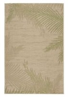 1.10' x 3' Beige and Green Fronds Rug
