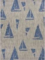 1.10; x 3' Gray and Navy Sailboats Rug
