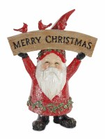 """9"""" Red Polyresin Santa With Cardinals amd Merry Christmas Sign"""