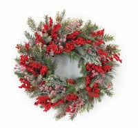 """23"""" Round Red Berry Iced Pine Wreath"""