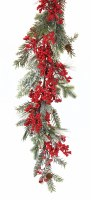 6' Faux Red Berry Iced Pine Garland