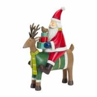 "10"" Polyresin Santa Riding a Reindeer Figurine"