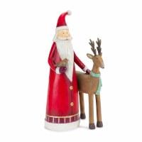 "11"" Polyresin Santa With a  Reindeer Figurine"