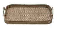 """10"""" x 16"""" Brown Rattan Wood Tray With Handles"""