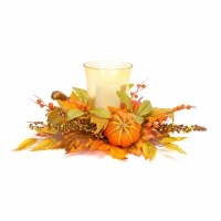 """23"""" Faux Yellow and Orange Pumpkin Gourd and Berries Centerpiece With Glass Hurricane"""