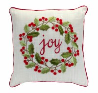 """15"""" Square Red and Green Joy Holly Wreath Holiday Pillow"""