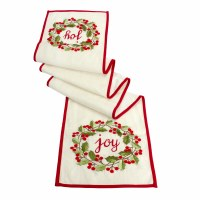 """72"""" Red and Green Joy Holly Wreath Holiday Table Runner"""