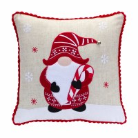"""15"""" Square Red and Tan Candy Cane Gnome Pillow"""