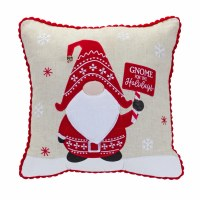 """15"""" Square Red and Tan Gnome For The Holidays Pillow"""