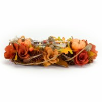 """12"""" Faux Orange and Red Pumpkin and Pinecone Tealight Candle Holder"""