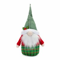 """18"""" Green Hat Gnome With Green Plaid Bottom"""