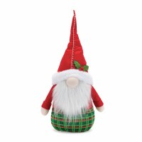 """18"""" Red Hat Gnome With Green Plaid Bottom"""