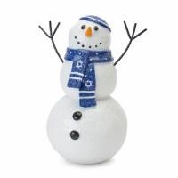 "8"" White Resin Hanukkah Snowman With Blue Scarf"