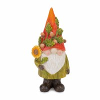 """6"""" Orange and Green Resin Gnome With a Sunflower"""