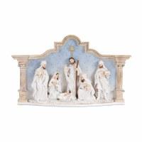 "15"" Antique White and Blue  Resin Nativity Scene"