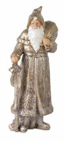 """12"""" Antique Silver and Gold Resin Santa Holding a Sack"""